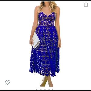 Worn once- Blue Crochet dress size small
